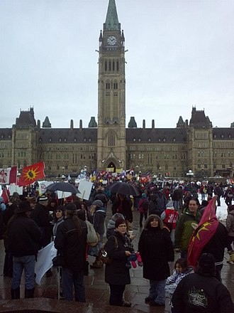 Idle No More - Idle No More supporters occupying the grounds of Parliament Hill on January 11