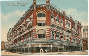 Joske's - Joske's flagship store at Alamo and Commerce Streets in Downtown San Antonio. This postcard is believed to depict the store before the 1909 expansion.
