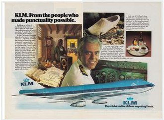 Tenerife airport disaster - KLM captain Veldhuyzen van Zanten featuring in a 1977 advertisement for the airline