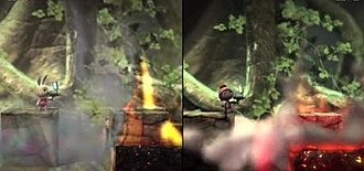 LittleBigPlanet 2 - The game engine from the first game (left) has undergone major improvements for the sequel (right) including enhancements to the lighting and particle systems.