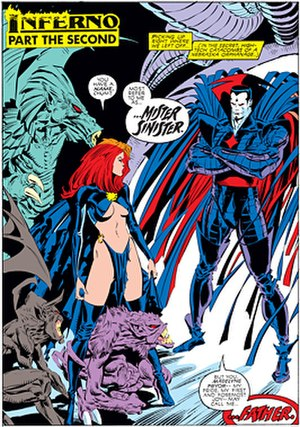 Madelyne Pryor - Goblin-Queen Madelyne meets Mr. Sinister. Art by Marc Silvestri.