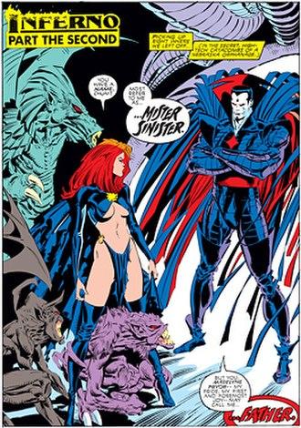 Madelyne Pryor - Goblin-Queen Madelyne meets Mr. Sinister. Art by Marc Silvestri.
