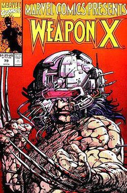 A bare-chested, muscular man shown from the chest up. He is wearing a ball shaped helmet, is spattered with blood, and has small probes stuck in his arms and chest. He also has 3 thin blades sticking out of the back of each of his hands.