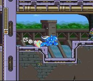 Mega Man X3 - A charged-up Zero approaches an enemy in Toxic Seahorse's stage. Mega Man X3 is the first game in the series to feature Zero as a playable character.