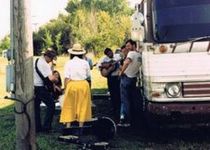 Gary Jeshel Forrester - Lakota bluegrass legend Mervin Frazier on guitar, Iowa, 1990