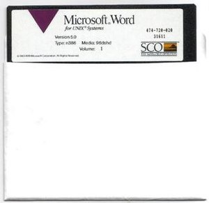 History of Microsoft Word - Installation floppy of Microsoft Word for UNIX Systems, version 5.0 (distributed by SCO, ca. 1989).