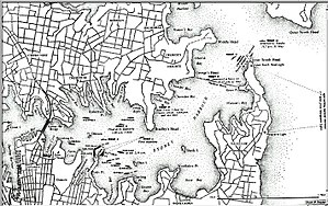 Sydney Harbour anti-submarine boom net - Sydney Harbour WWII map showing the boom net's location