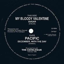 "A black label of a square 7-inch single. Main grey text reads ""This Side My Bloody Valentine Sugar""."
