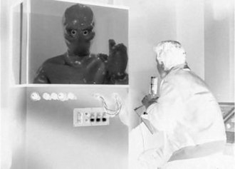 The Galaxy Being - The shimmering effect of the alien was generated by filming a specially treated rubber suit through polarized lenses.  This photographic negative illustrates the effect used to create the appearance of the alien in the three-dimensional television transceiver.