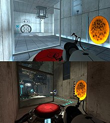 Two images showing the same test chamber from the same vantage point, consisting of a red button, a weighted cube dispenser, an exit door, and a translucent observation window, in both Portal and Portal 2. The top picture shows these elements in pristine condition, while the second shows discoloration, deterioration, and overgrowth from plants.