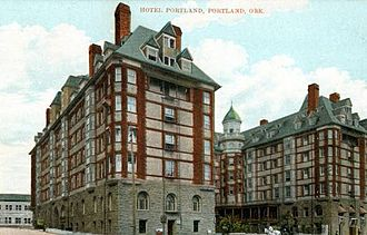 Henry W. Corbett - Portland Hotel built by Corbett. (Now site of Pioneer Courthouse Square) (Oregon Historical Society)