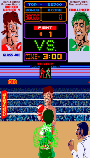 Punch-Out!! (arcade game) - The first match in Punch-Out!! against Glass Joe