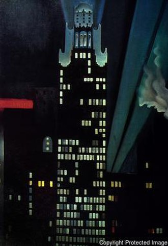 New York skyscrapers (O'Keeffe) - Georgia O'Keeffe, Radiator Building—Night, New York, 1927, The Alfred Stieglitz Collection, Crystal Bridges Museum of American Art, Bentonville, Arkansas