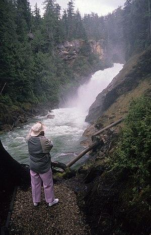 Azure Lake - Rainbow Falls near east end of Azure Lake