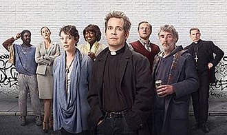 Rev. (TV series) - Main and recurring cast of Rev. From left to right: Jimmy Akingbola, Lucy Liemann, Olivia Colman, Ellen Thomas, Tom Hollander, Miles Jupp, Steve Evets, Simon McBurney