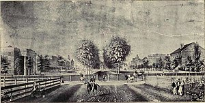 Old Campus District, University of South Carolina - View of the Horseshoe in 1850 from College Street, looking east