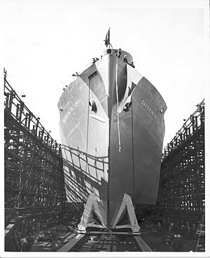 Oregon Shipbuilding Corporation - Oregon Shipbuilding Corporation's SS Davidson Victory on ways
