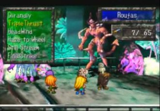 SaGa Frontier - Playable characters fighting enemies while the player chooses one of battle skills (on the left)