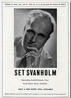 Set Svanholm Swedish opera singer