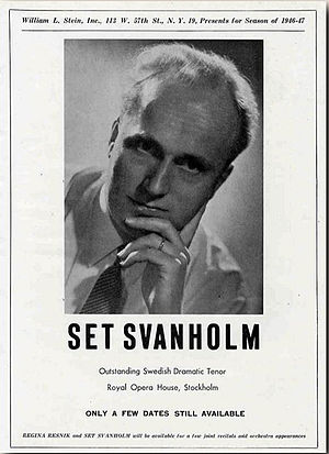 Set Svanholm - Set Svanholm in an advertisement by his agent, William L. Stein, for the 1946-1947 season in New York.