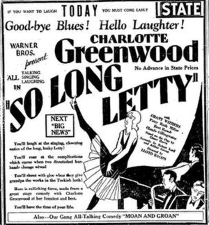So Long Letty (1929 film) - Movie poster