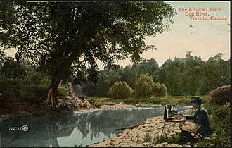 Owen Staples - Postcard featuring Staples in the Don valley circa 1909