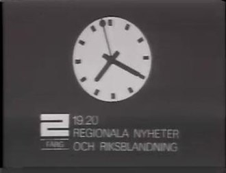 Sveriges Television - TV2 clock in the 1970s