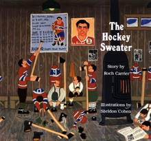 Illustrated book cover of a young boy pointing to a wall poster of Maurice Richard's career statistics using a hockey stick as several of his friends look on