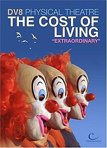 "The faces of three identical clowns standing side by side, facing right, on a sky blue background with title text written above, DV8 PHYSICAL THEATRE, THE COST OF LIVING, ""EXTRAORDINARY"". The ""Digital Classics DVD"" logo is in the bottom right corner"