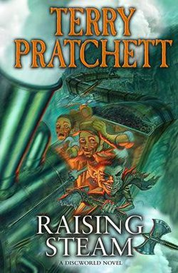 The front cover of the book Raising Steam by Terry Pratchett.jpg