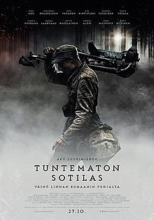 a theatrical release poster of the film featuring a finnish soldier carrying a machine gun tripod