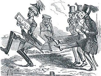 Ultimatum - The 1853 negotiations between Russian envoy, Prince Menshikov, and the Turkish Sultan about the protection of Orthodox Christians in the Ottoman Empire involved a series of ultimata.  On 31 May, Russia threatened that the provinces of Moldova and Wallachia would be occupied if Menshikov's note was not accepted within seven days.  This Punch cartoon satirises rejection of the ultimatum by Austria, France and Turkey while Britain watches, amused.