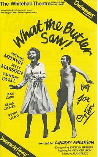 What the Butler Saw (play) - original window card, Royal Court Theatre, 1975