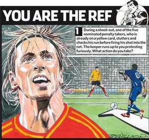 You Are The Ref - A You Are The Ref cartoon showing an incident in a penalty shootout. Fernando Torres is the chosen portrait.