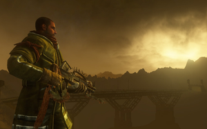 Red Faction: Guerrilla - Protagonist Alec Mason on the surface of Mars. In the first three games of the ''Red Faction'' series Mars has been terraformed and can sustain life on its surface.