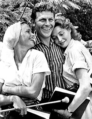 Patricia Neal - Neal (r) with Andy Griffith and Lee Remick on the set of A Face in the Crowd (1957)