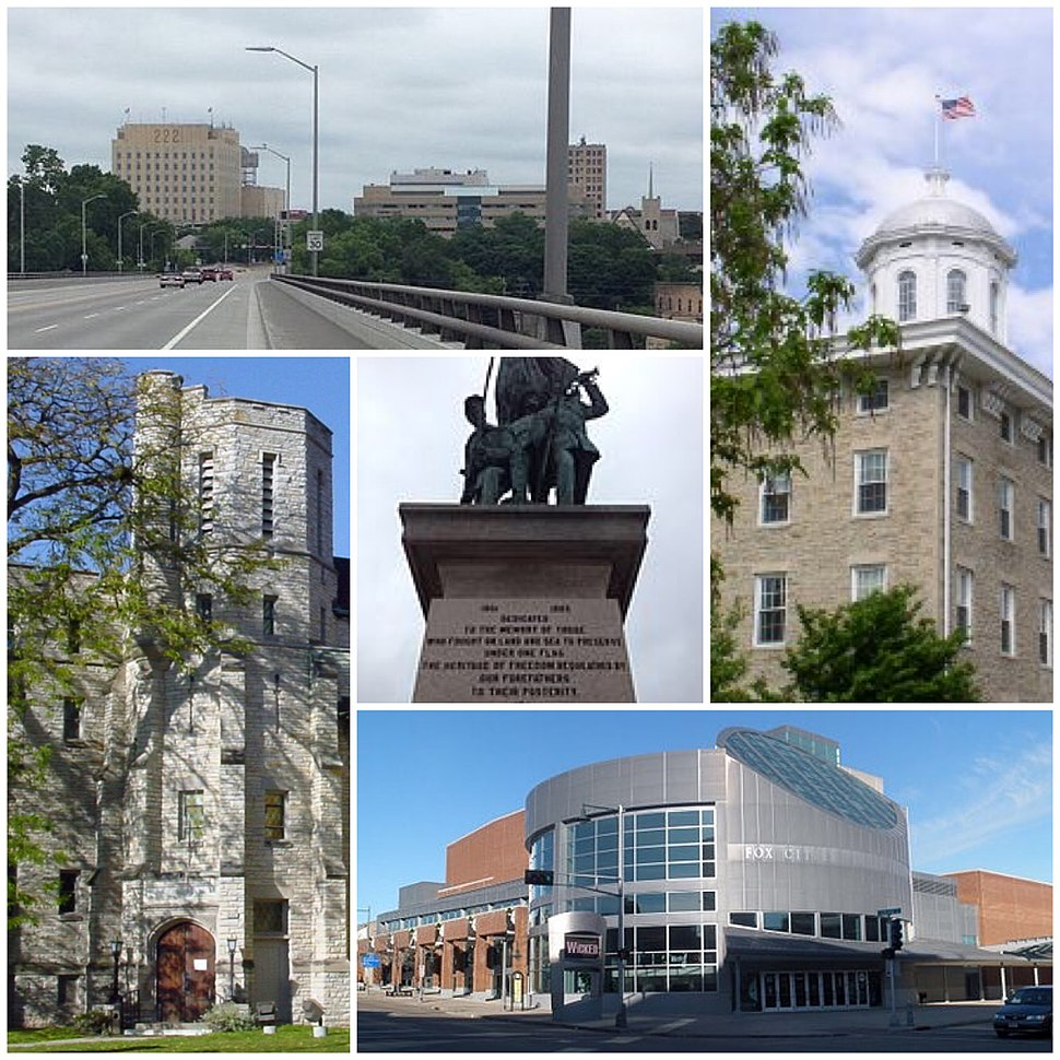 Clockwise from top left: Downtown Appleton Skyline, Main Hall (Lawrence University), Fox Cities Performing Arts Center, History Museum at the Castle, Appleton War Memorial: Soldiers Square
