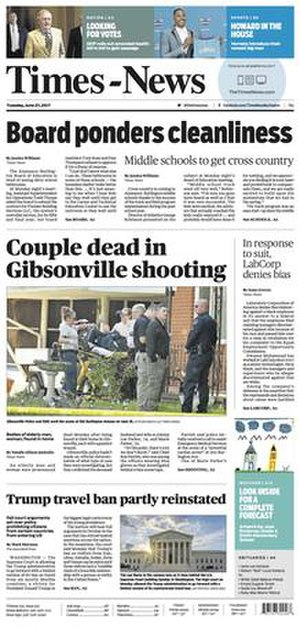 Times-News (Burlington, North Carolina) - The June 27, 2017, front page of The Times-News