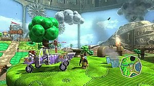 Banjo-Kazooie: Nuts & Bolts - A still image of gameplay. The radar in the bottom-right corner displays the player's current position in the world.