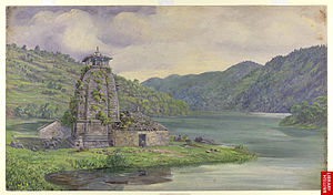 Chand kings - 'Bhimeshwara Mahadev Temple', at Bhim Tal, built by Baz Bahadur. Oil painting on paper, by Marianne North July 30, 1878.