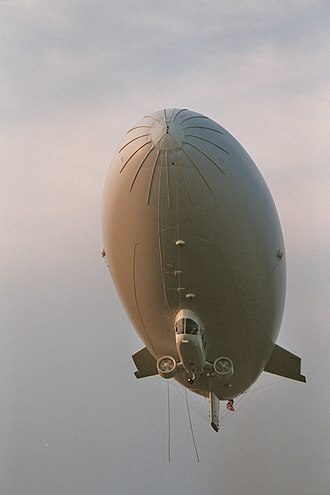 Blimp - A modern blimp from Airship Management Services showing a strengthened nose, ducted fans attached to the gondola under the hull, and cable-braced fins at the tail