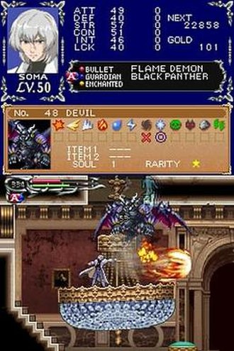 Castlevania: Dawn of Sorrow - An image of gameplay, with the primary character, Soma Cruz, using the Flame Demon soul. The upper screen shows the character's statistics and information on the enemy.
