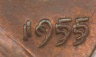 Glossary of numismatics - Example of extreme doubling on the date of a coin