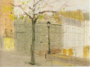 Edo Kovačević - Paris (1954), India ink and pastel on paper