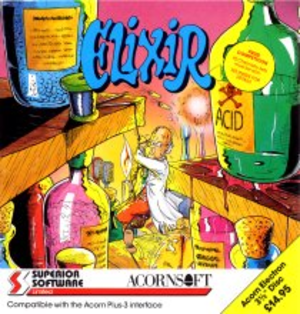 "Elixir (video game) - Acorn Electron 3.5"" disk inlay"
