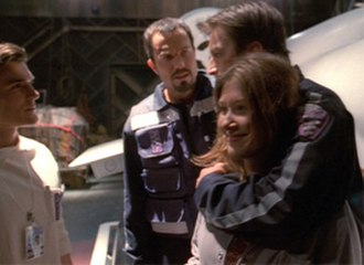 Ariel (Firefly episode) - Dr. Tam, Jayne, Kaylee, and Malcolm after their raid of an Alliance hospital.  Malcolm's hugging Kaylee was improvised by Nathan Fillion.