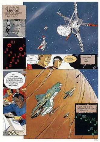 The Forever War (comics) - Panel from Volume III, German edition. Commodore Antopol sending out fighter craft (lower panel) to intercept the two Tauran cruisers approaching Sade 138.