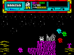 Game start screen for Bubble Bus' ZX Spectrum game Starquake.png