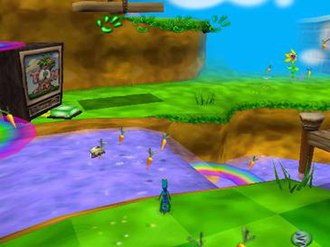 Gex: Enter the Gecko - Gex in a cartoon level. The paws at the top represent his remaining health, and the carrots in front of him are collectibles, when a certain number are collected the player is given an extra life. When Gex stands on the green button across the water, they will finish the level if the requirements have been met.