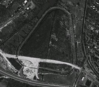 Good Time Park - Aerial photo of remains of Good Time Park, with new road construction through the south leg